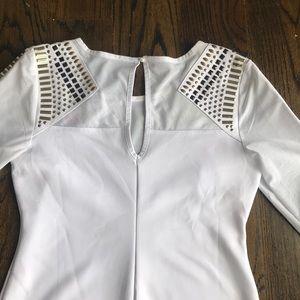bebe Dresses - Bebe white bodycon long sleeve dress with studs